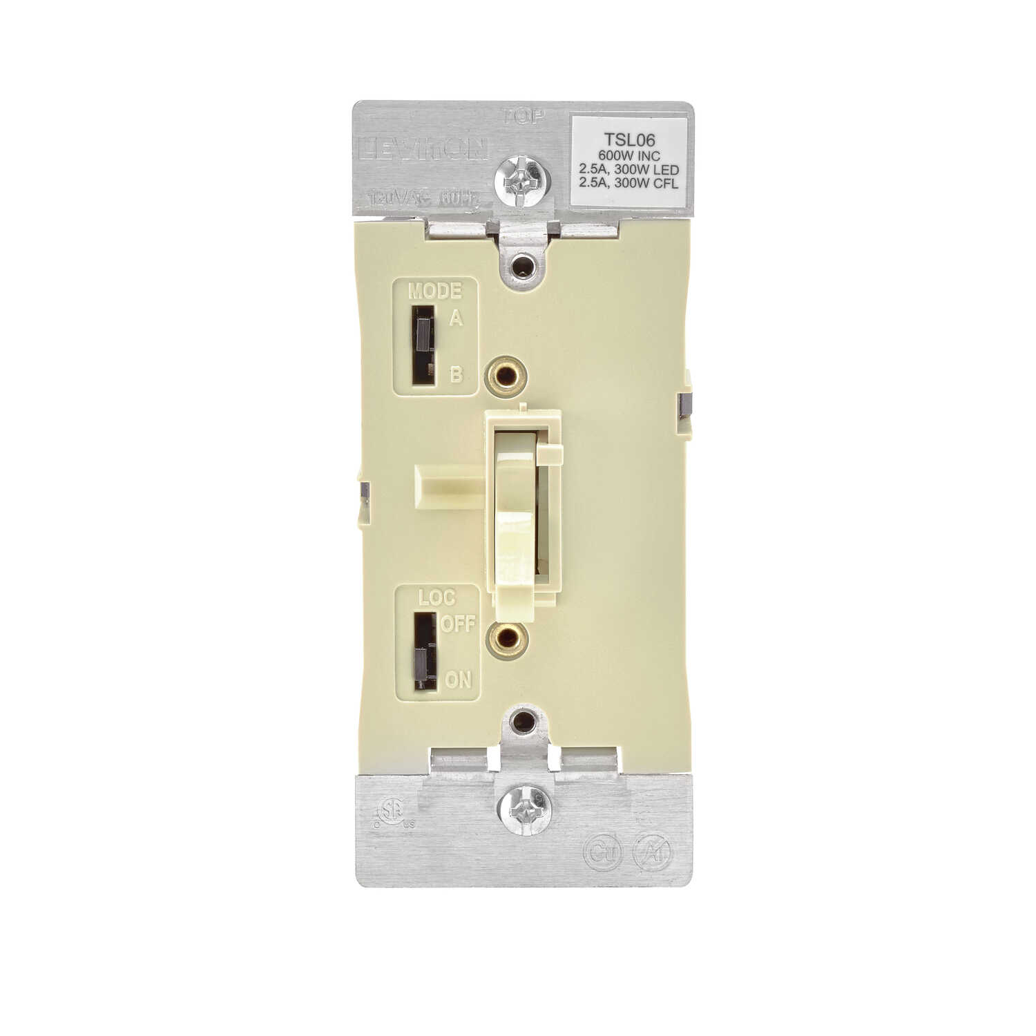 Leviton  Ivory  600W-120VAC incandescent  Toggle  Dimmer Switch  1 pk