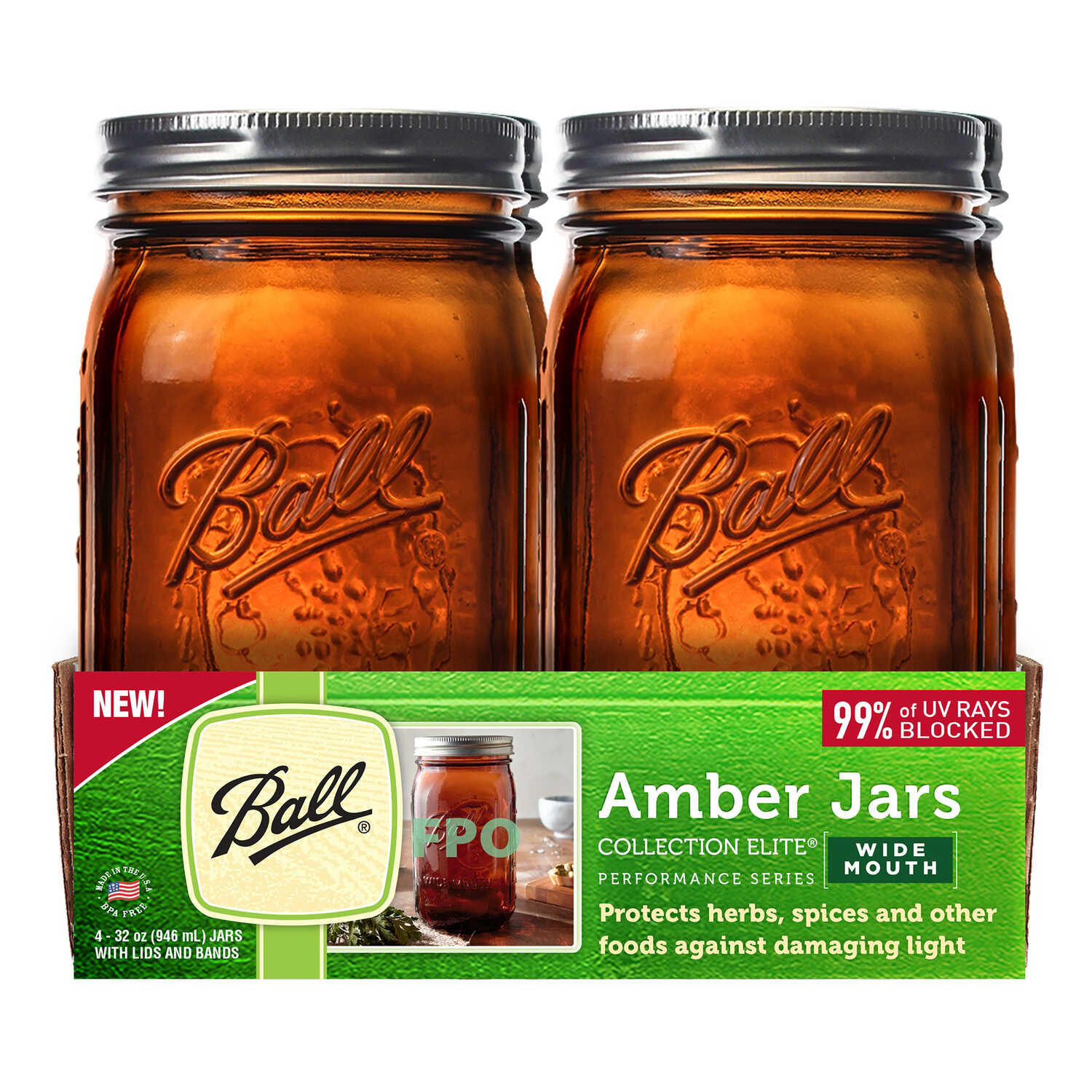 Ball  Collection Elite  Wide Mouth  Canning Jar  32 oz. 4 pk