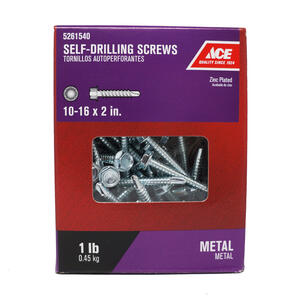 Ace  10-16 Sizes  x 2 in. L Hex Washer Head Zinc-Plated  Steel  Self- Drilling Screws  1 lb.