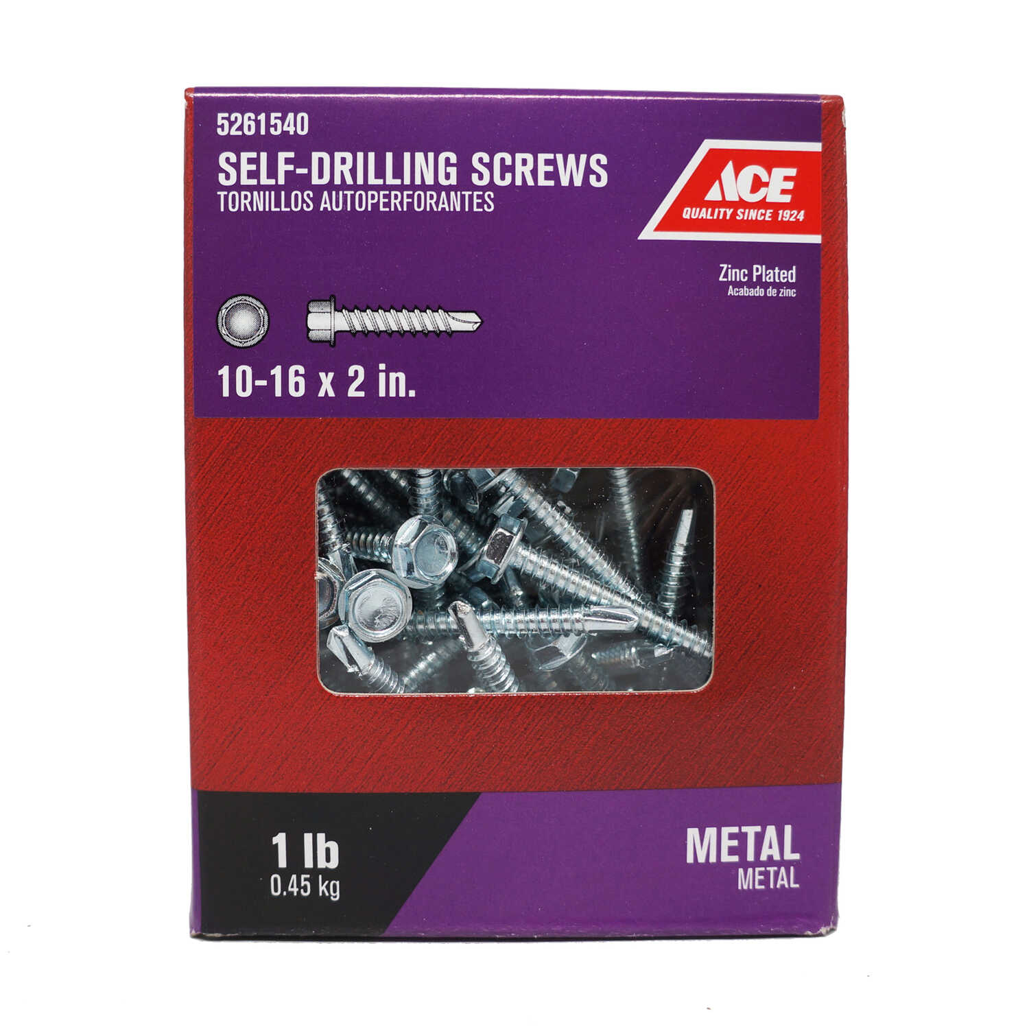 Ace  2 in. L x 10-16 Sizes  Hex  Hex Washer Head Steel  Self- Drilling Screws  1 lb. Zinc-Plated