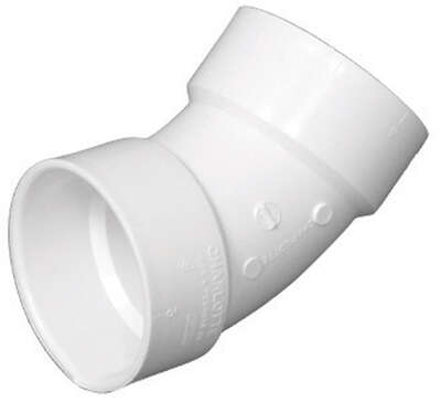 Charlotte Pipe Schedule 40 3 in. Hub x 3 in. Dia. Hub PVC 45 Degree Elbow