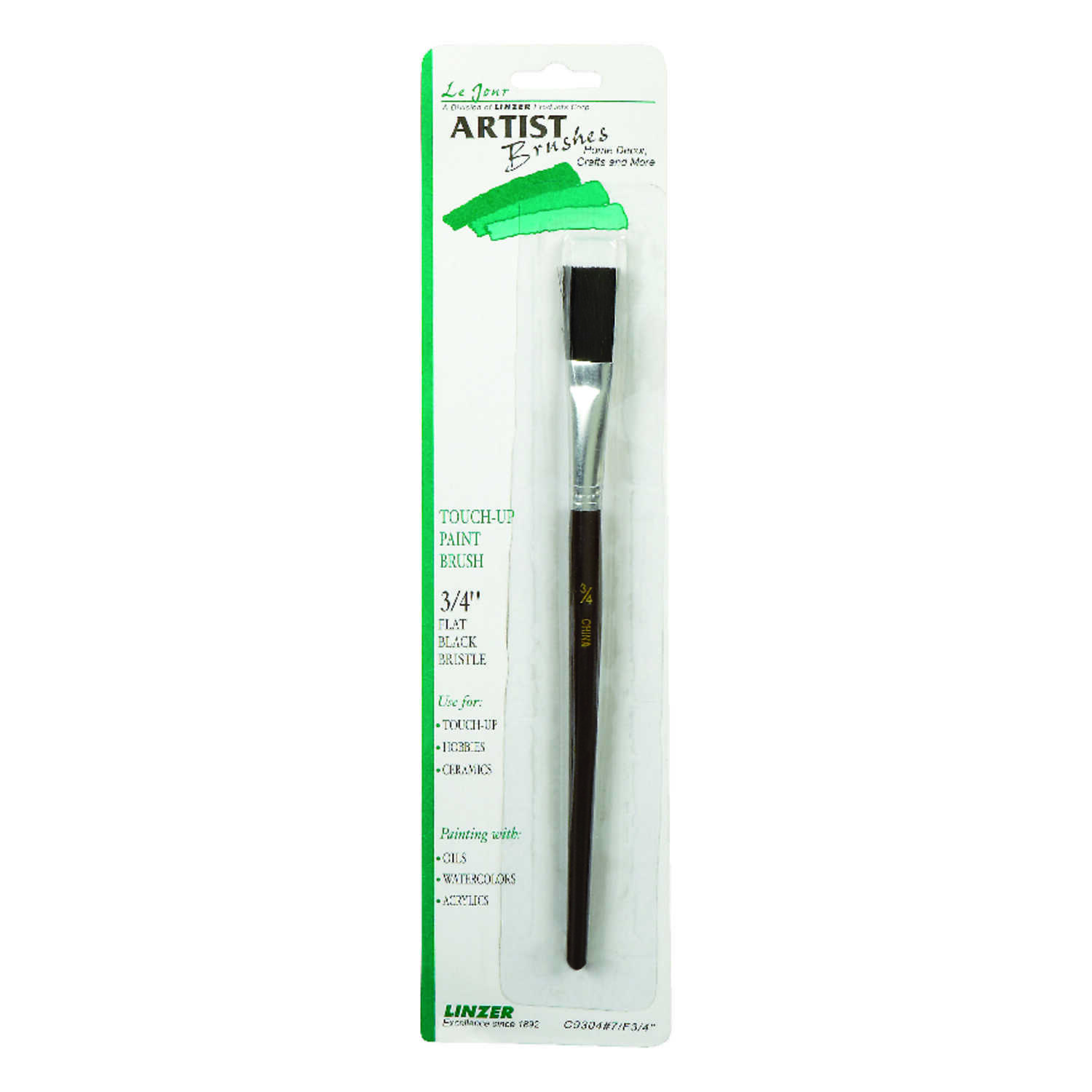 Linzer  3/4 in. W Flat  Black China Bristle  Touch-Up Paint Bursh