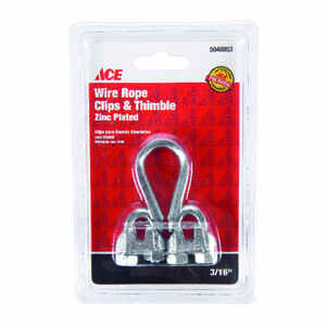 Ace  Galvanized  Steel  Wire Rope Clips and Thimble  3/16 in. L