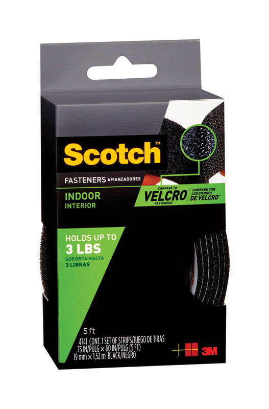 3M  Scotch  Medium  60 in. L 1 pk Foam  Hook and Loop Fastener