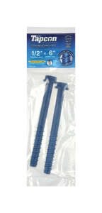 Tapcon  .27 in. Dia. x 6 in. L Hex  Concrete Screw Anchor  2 pk Steel