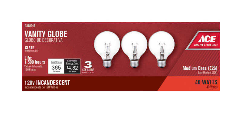 Ace  40 watts G25  Incandescent Light Bulb  365 lumens White (Clear)  Globe  3 pk