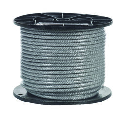 Campbell Chain  Clear Vinyl  Galvanized Steel  3/16 in. Dia. x 250 ft. L Aircraft Cable