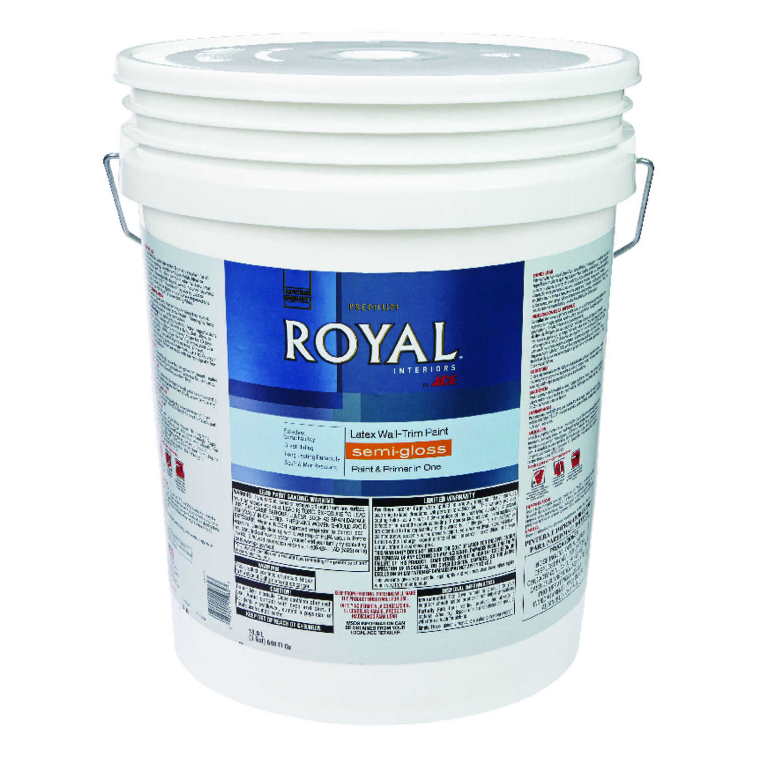 Ace  Royal  Semi-Gloss  High Hiding White  Vinyl Acetate/Ethylene  Interior Latex Wall+Trim Paint  5