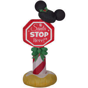 Gemmy  Mickey Ears Stop Sign  Christmas Inflatable  Multicolored  Fabric  1 pk