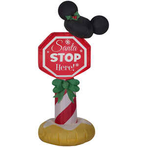 Gemmy  Mickey Ears Stop Sign  Christmas Inflatable  1 pk Fabric