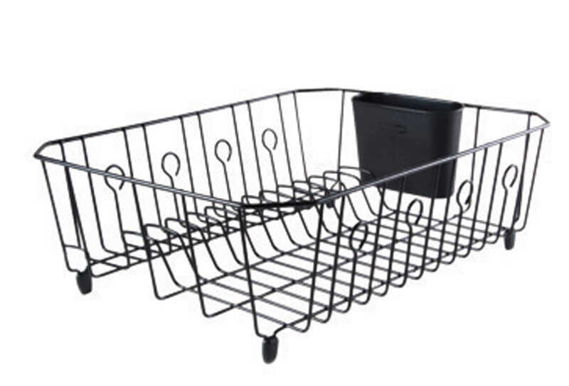 Rubbermaid  13.8 in. W x 5.9 in. H x 17.6 in. L Steel  Black  Dish Drainer