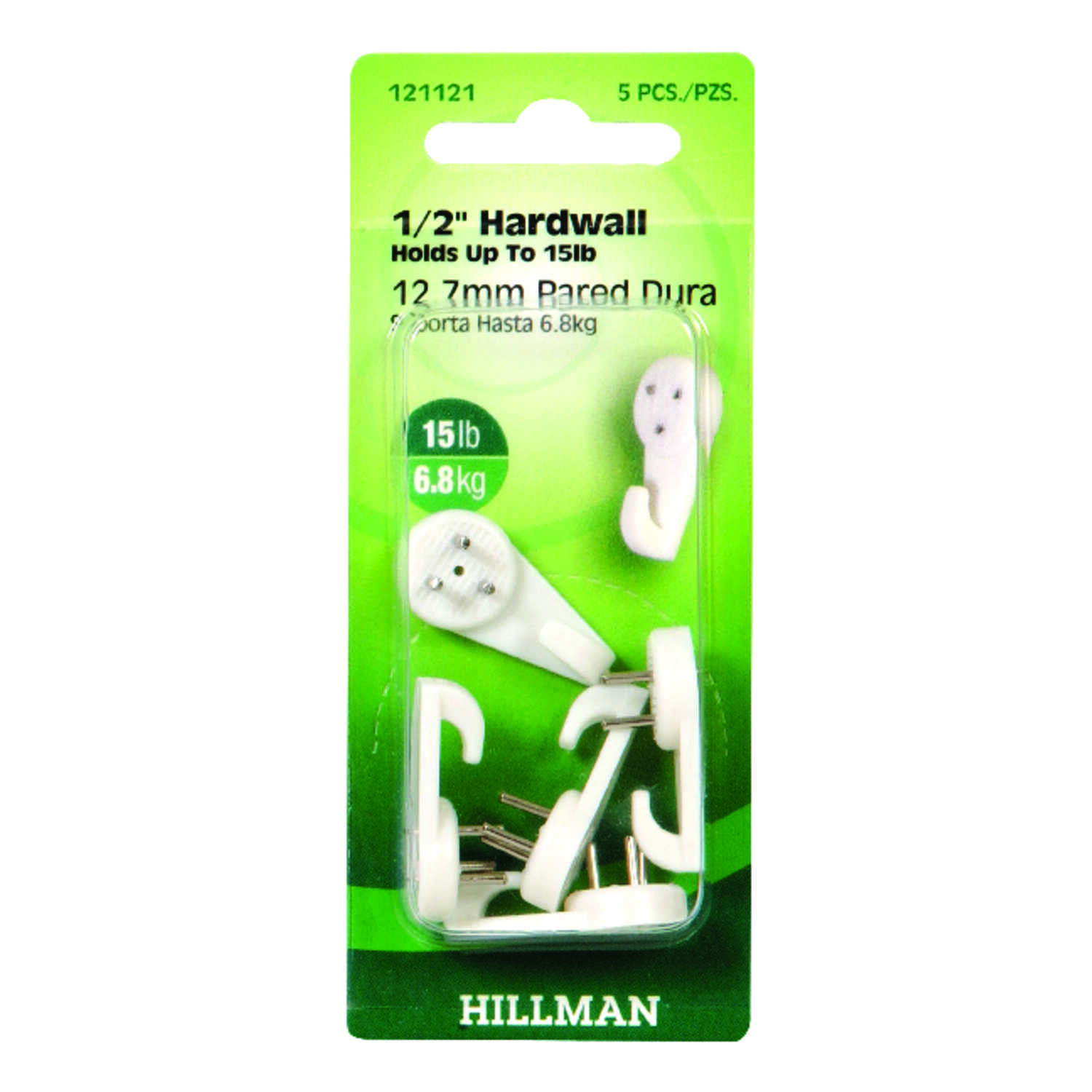 HILLMAN  AnchorWire  Plastic Coated  Hardwall  Nylon  15 lb. Picture Hook  5 pk