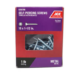 Ace  1-1/2 in. L x 10 Sizes  Hex/Slotted  Hex Washer Head Steel  Self-Piercing Screws  1 lb. Zinc-Pl