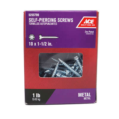 Ace  No. 10   x 1-1/2 in. L Hex/Slotted  Hex Washer Head Zinc-Plated  Steel  Self-Piercing Screws  1