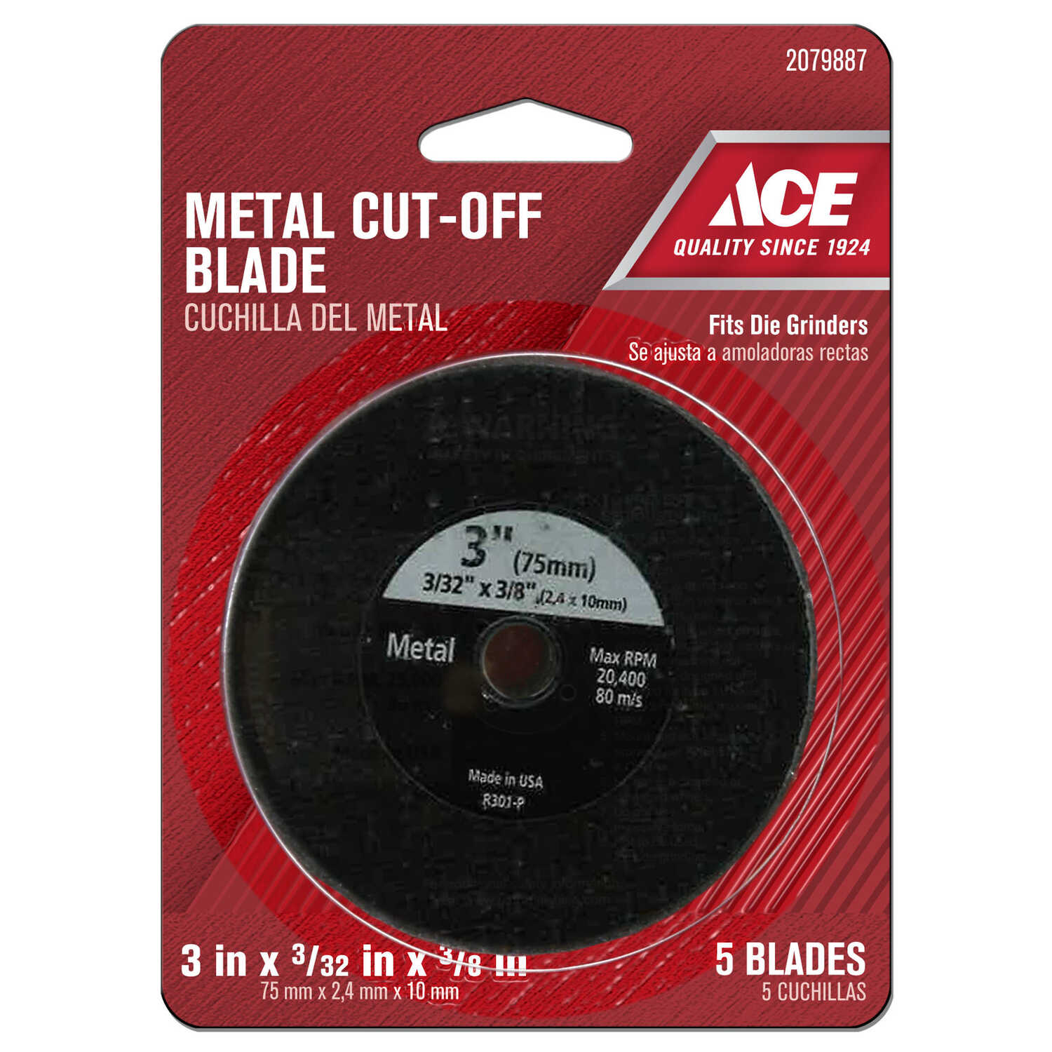 Ace  3 in. Silicon Carbide  Metal Cut-Off Blade  0.09 in. thick  x 3/8 in.  5 pc.