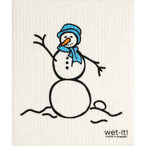 Wet-It!  Blue/White  Cellulose/Cotton  Snowman  Dish Cloth  1 pk