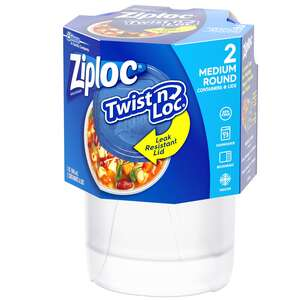 Ziploc  Twist'n Loc Container  Clear  2 pk 32 oz.