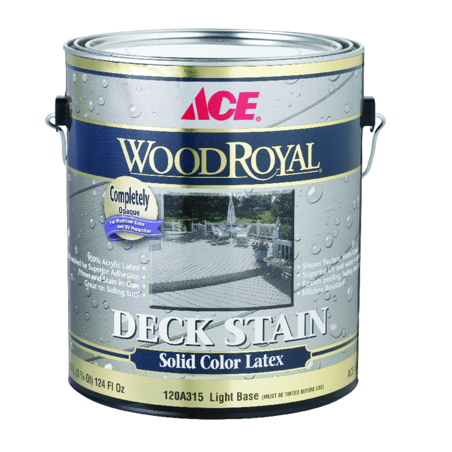 Ace  Wood Royal  Solid  Tintable Flat  Light Base  Light Base  Acrylic Latex  Deck and Siding Stain