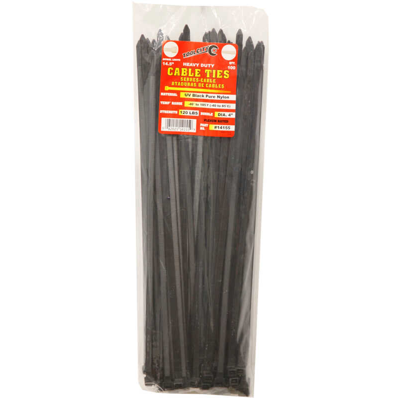 Tool City  14.5 in. L Black  Cable Tie  100 pk