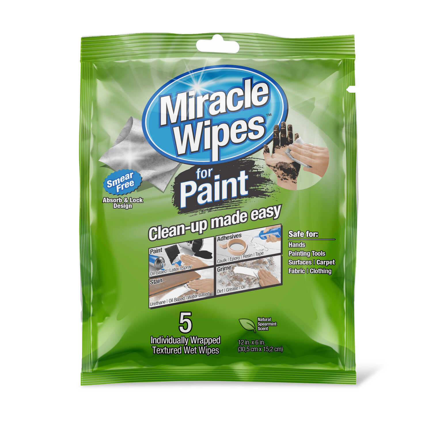 Miracle Brands  MiracleWipes  Fiber Blend  MiracleWipes  12  W x 6  L 5