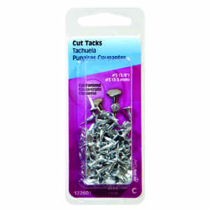 Hillman  No. 6   x 1/2 in. L Galvanized  Silver  Steel  Cut Tacks  1.75 pk
