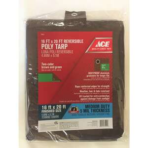 Ace  16 ft. W x 20 ft. L Polyethylene  Tarp  Brown/Green  Medium Duty