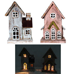 Alpine  Wood  Assorted  11.2 in. H Cottage Rustic Wooden House  Outdoor Decoration