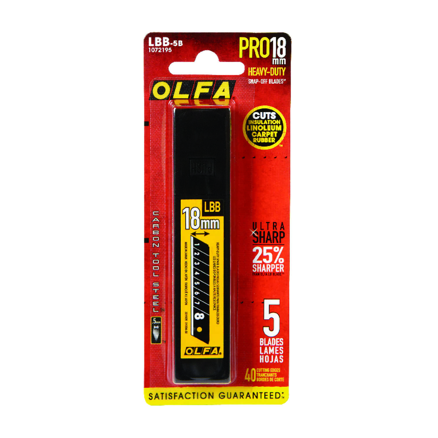 OLFA  11/16 in. L x 18 mm  Carbon Steel  8 Point  Replacement Blade  5 pc.