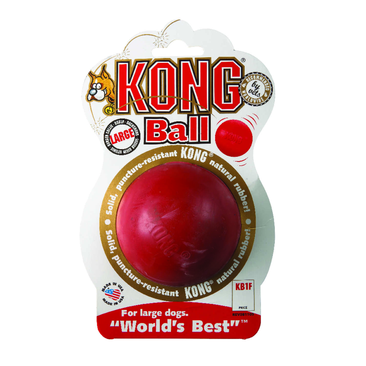 Kong  Red  Rubber  Rubber Ball  Large