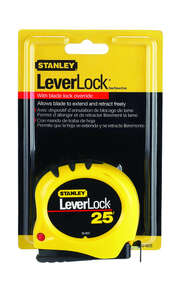 Stanley  LeverLock  1 in. W x 25 ft. L Tape Rule  1 pk Yellow