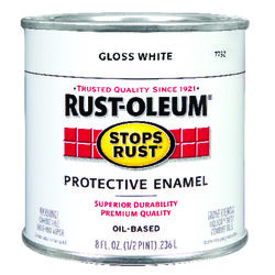 Rust-Oleum  Stops Rust  Gloss  White  Oil-Based  Alkyd  Protective Enamel  0.5 pt.