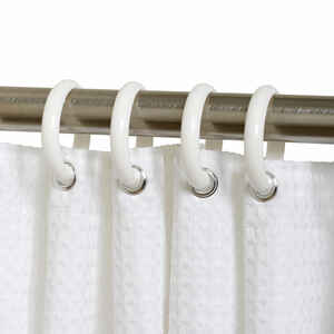 Zenna Home  White  Plastic  Shower Curtain Rings  12 pk White