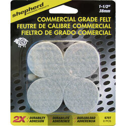 Shepherd  Brown  1-1/2 in. Adhesive  Felt  Commercial Grade Felt Pads  8 pk