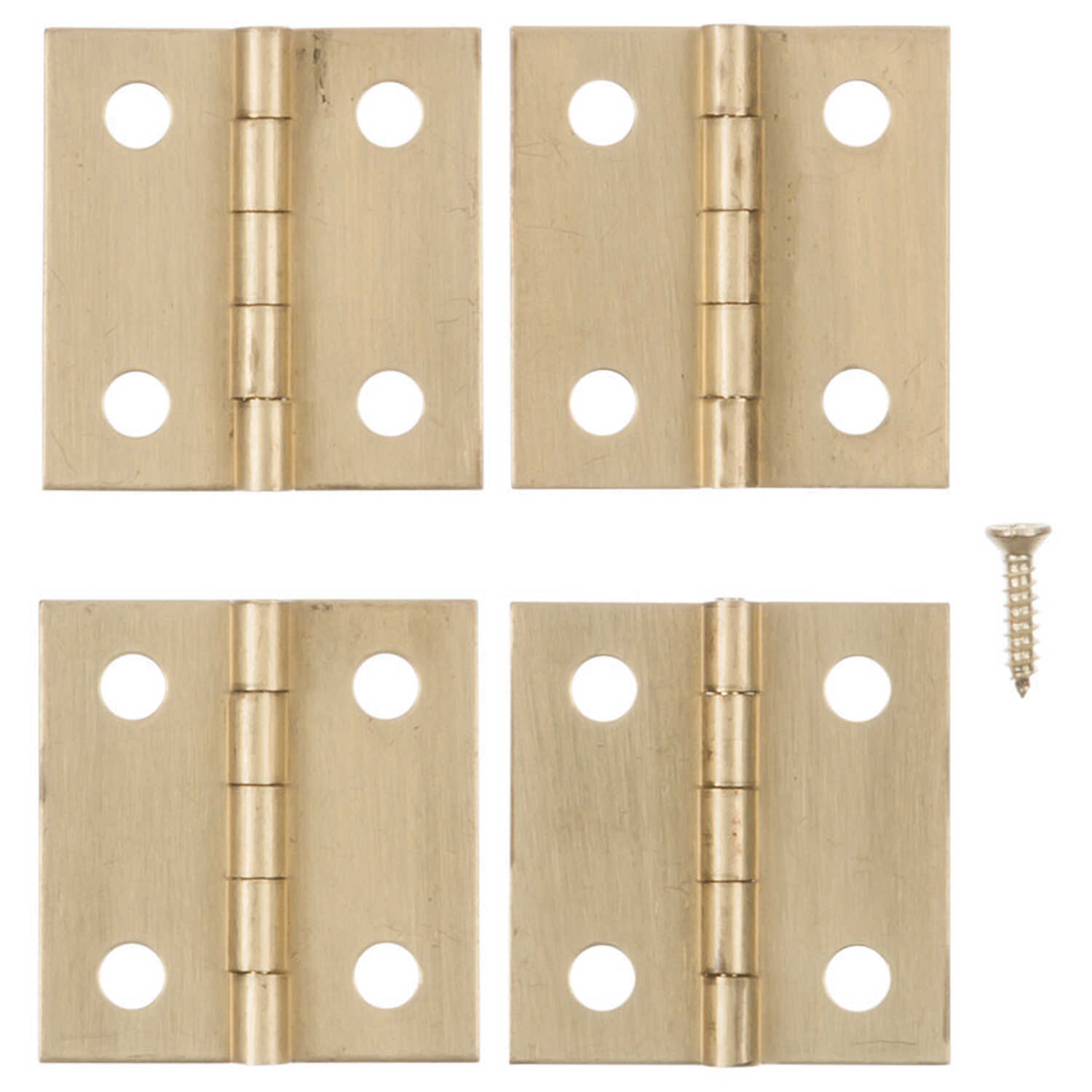 Ace  1 in. W x 1 in. L Polished Brass  Brass  Broad Hinge  4 pk