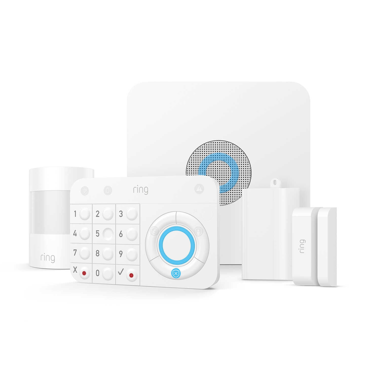 Ring  Battery Powered  Indoor  White  Alarm Home Security Kit