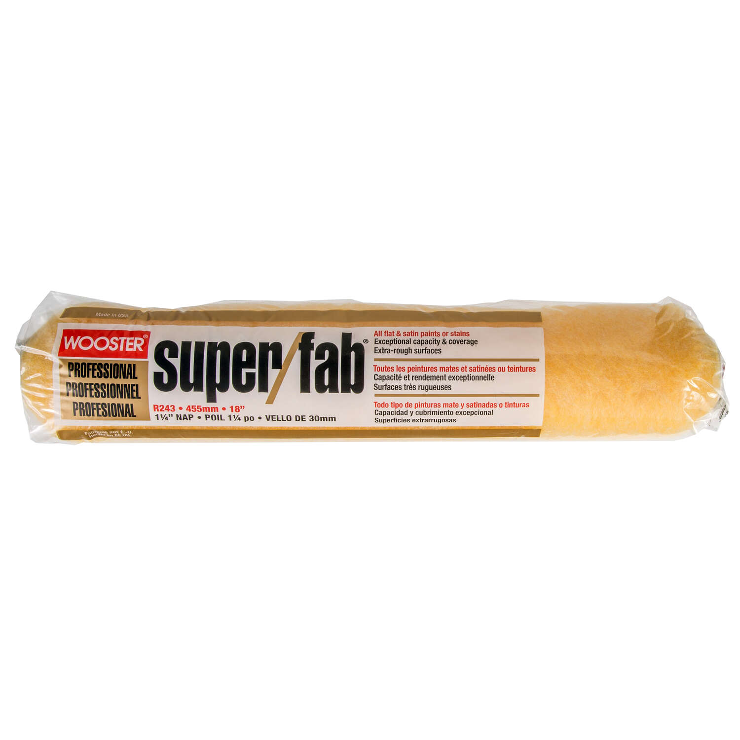 Wooster  Super/Fab  Knit  1-1/4 in.  x 18 in. W Regular  Paint Roller Cover  1 pk