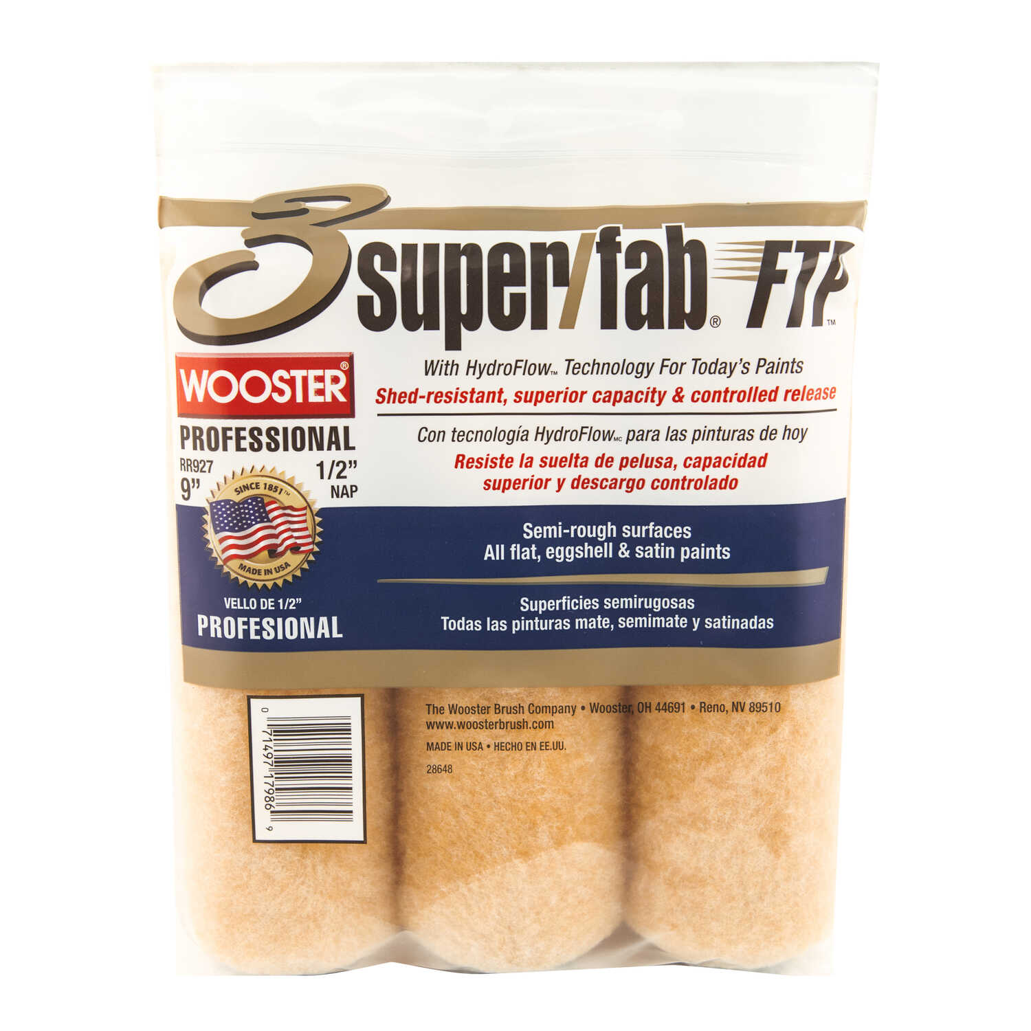 Wooster  Super/Fab FTP  Synthetic Blend  1/2 in.  x 9 in. W Paint Roller Cover  For Semi-Rough Surfa