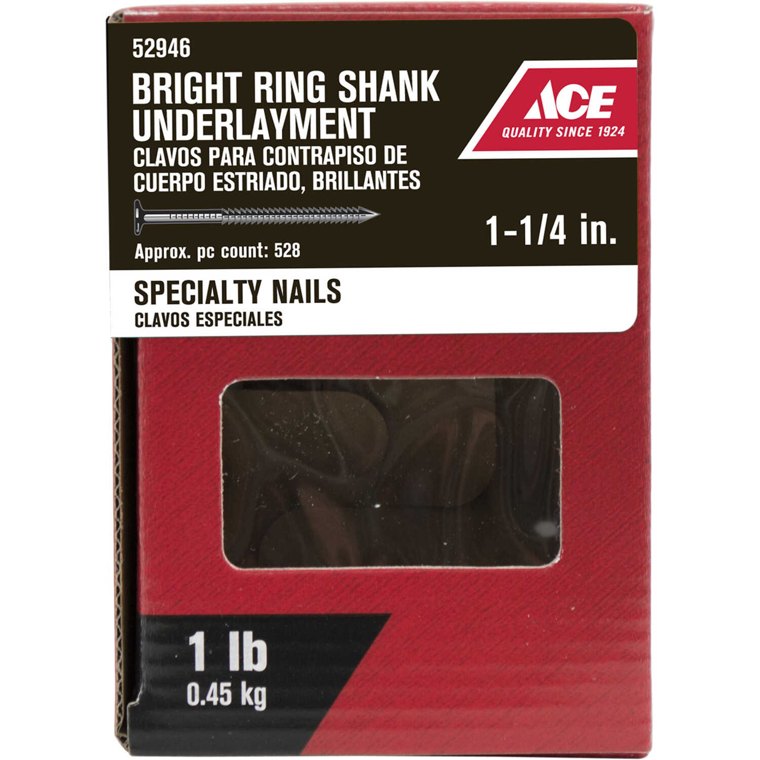 Ace  3D  1-1/4 in. L Underlayment  Bright  Steel  Nail  Annular Ring Shank  Round  1 lb.