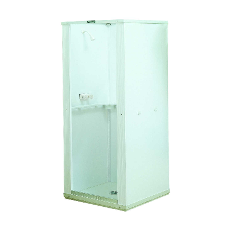 Mustee Durastall White Shower Stall Polypropylene Center Drain