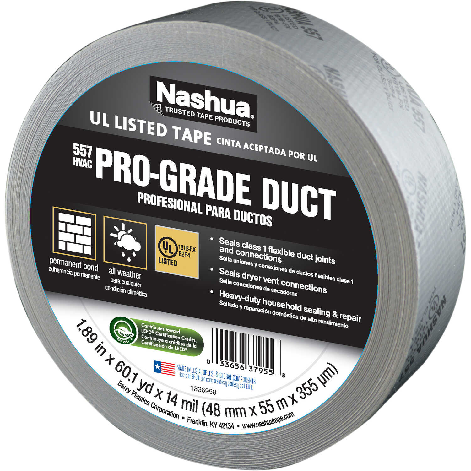 Nashua  557 HVAC  60.1 yd. L x 1.89 in. W Silver  Duct Tape  Printed 181B-FX