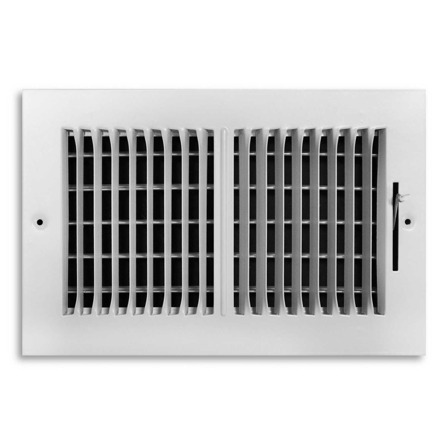 Tru Aire  6 in. H x 1-11/16 in. D 2-Way  Powder Coat  White  Steel  Return Air Grille