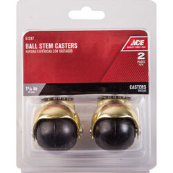Ace 1-5/8 in. Dia. Swivel Rubber Hooded Ball Caster 75 lb. 2 pk