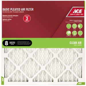 Ace  20 in. W x 25 in. H x 1 in. D Cotton  8 MERV Pleated Air Filter