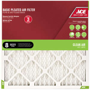 Ace  25 in. H x 20 in. W x 1 in. D Pleated  Air Filter