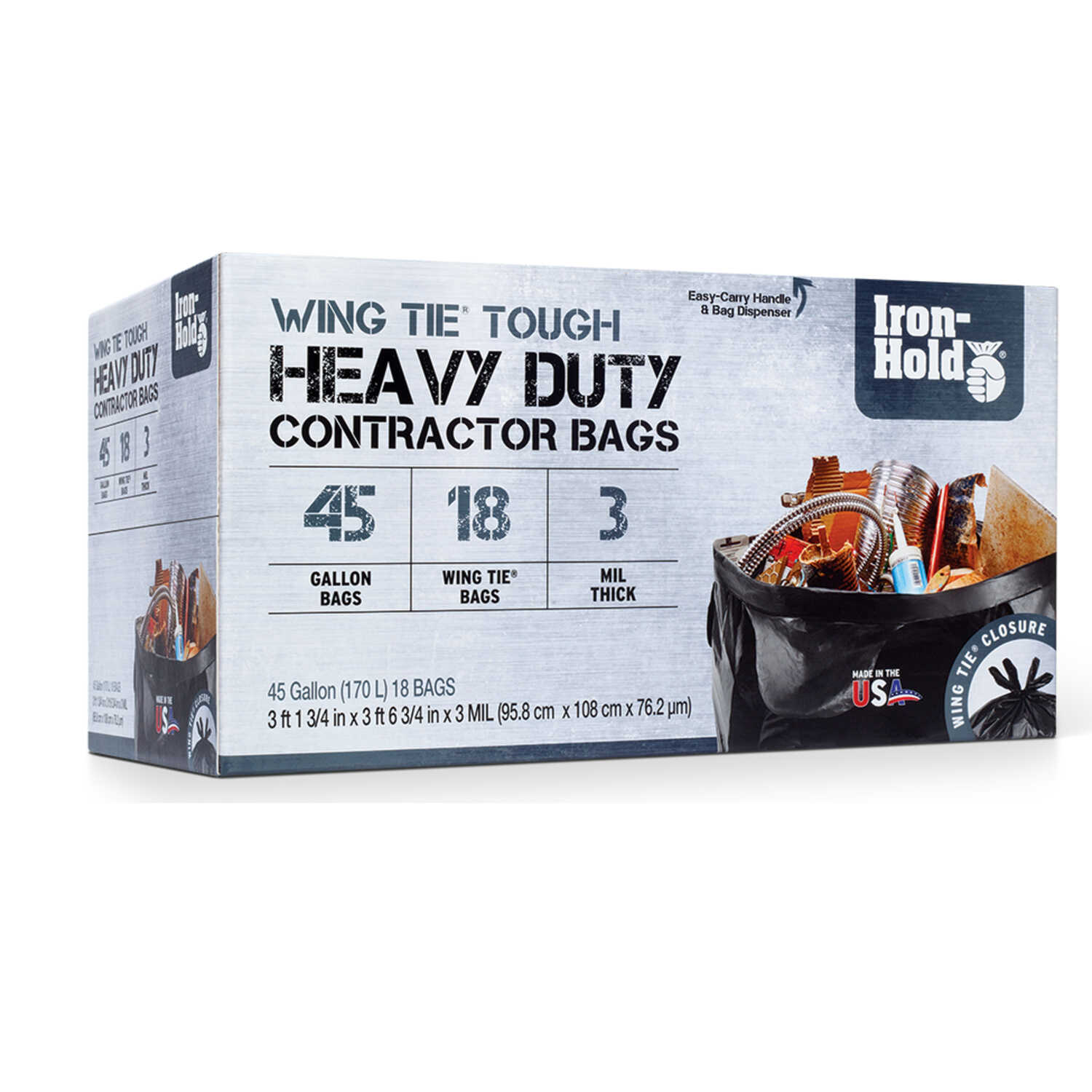 Iron Hold  45 gal. Contractor Bags  Wing Ties  18 pk