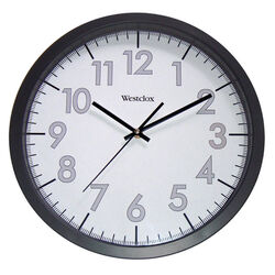 Westclox  14 in. L x 13-3/4 in. W Indoor  Analog  Wall Clock  Plastic  Black/White