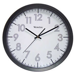 Westclox  14 in. L x 13-3/4 in. W Indoor  Wall Clock  Plastic  Black/White  Analog