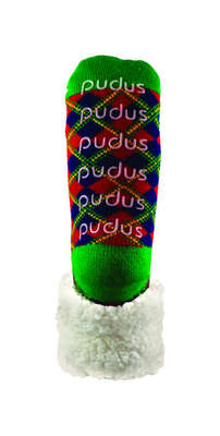 Pudus  Christmas Plaid  Slipper Socks  Acrylic/Polyester  1 pk