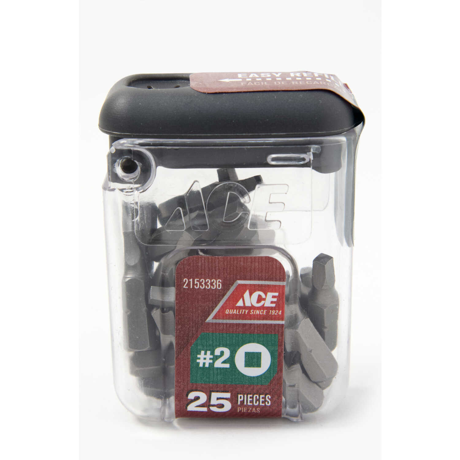Ace  Square Recess  #2   x 1 in. L Insert Bit  S2 Tool Steel  1/4 in. Hex Shank  25 pc.