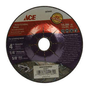 Ace  1/4 in. thick  x 5/8 in.   x 4 in. Dia. Aluminum Oxide  Metal Grinding Wheel  15280 rpm 1 pc.